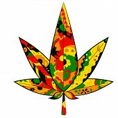 marijuana leaf in Rastafarian colors