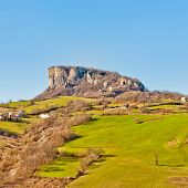 stock photo of apennines  - view of famous Pietra di Bismantova in Reggio Emilia Apennines  - JPG