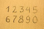 Numbers on a sandy beach (0-9)