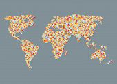 World map design with abstract pattern