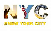 New York City America travel & tourist montage, The Empire State Building, skyline, yellow taxi cab,