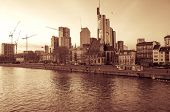 FRANKFURT, HESSE - February 12 : River view of Frankfurt am Main. Frankfurt is the largest city in t