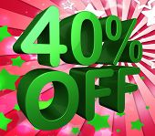 Forty Percent Off Represents Sale 40% And Clearance