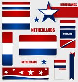 Collection of Netherlands Flags, Flags concept design. Vector illustration.