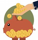 Money coins on hand and Piggy bank with coin over it. Modern Flat design vector illustration concept