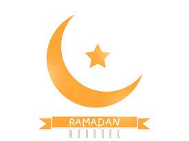 stock photo of ramazan mubarak  - Orange crescent moon with star on white background for holy month of muslim community celebration Ramadan Mubarak - JPG