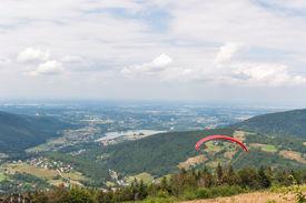 foto of zar  - Paraglider in mountain range of Little Beskids - JPG