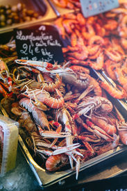 stock photo of norway lobster  - Fresh Norway lobsters at fish markett in Normandy France