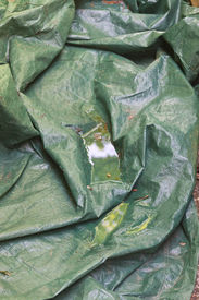 picture of tarp  - Rainwater collects in a plastic tarp creating an ideal habitat for mosquitoes to lay their eggs - JPG