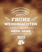 Digitally generated Frohe Weinhnachten vector against golden background