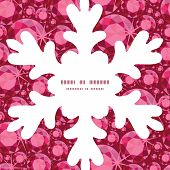 Vector ruby Christmas snowflake silhouette pattern frame card template