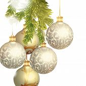 Christmas Baubles Isolated On White