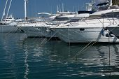 stock photo of mast  - Yachts and mast reflection Alcudia Mallorca Balearic islands Spain - JPG