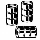 Silhouettes  metal barrels  for oil on white background. Vector