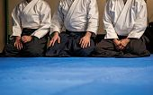 picture of aikido  - three aikido fighters during a concentration pause - JPG