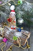 Christmas fur-tree toy sheep symbol 2015