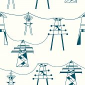 Seamless pattern for electricity - power lines