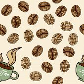 Coffee beans and cup with aroma steam seamless pattern