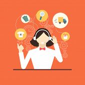 Technical Support Assistant Woman Flat Design Vector Illustrations.