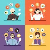 Technical Support Banners Set Assistant Mans And Woman With Icons Flat Design Vector Illustration