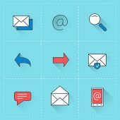 Email Icons. Vector Icon Set In Flat Design Style. For Web Site Design And Mobile Apps