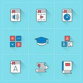 Education and learning vector icon set in flat design style