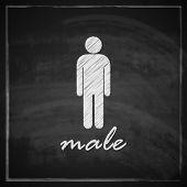 vintage illustration with male sign on blackboard background