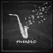 vintage illustration with the saxophone on blackboard background. music illustration