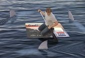 picture of loan-shark  - Man stranded on a raft made of a huge credit card in the ocean while being circled by sharks - JPG