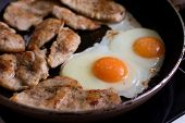 Fried Eggs And Chicken Meat On Pan