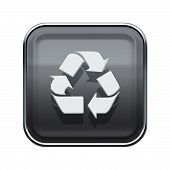 Recycling Symbol Glossy Icon Grey, Isolated On White Background