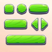 Set of cartoon green stone buttons