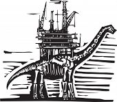 pic of apatosaurus  - Woodcut style image of a fossil of a brontosaurus apatosaurus dinosaur with an oil rig on its back - JPG