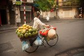 Typical Street Vendor In Hanoi,Vietnam.