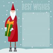 Funny Cartoon Winter Holidays Greeting Card With Santa Claus And  With Best Wishes