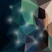 Abstract bright dark colored polygonal triangular background with glaring lights for use in design