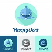 Vector modern flat shark logo set for dental center