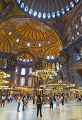 ISTANBUL, TURKEY - AUGUST 27:  Walking people in Hagia Sophia on August 27, 2011 in Istanbul, Turkey.