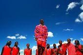 Masai Warrior Dancing Traditional Dance,AFRICA, KENYA, MASAI MARA, NOVEMBER 12,2008