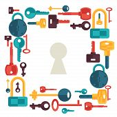 picture of safeguard  - Background design with locks and keys icons - JPG