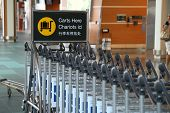 Vancouver, BC Canada - September 13, 2014 :Parking carts here sign at YVR airport in Vancouver BC Canada.