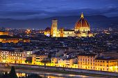 Florence Or Firenze, Duomo Cathedral Landmark. Sunset View From Michelangelo Park. Italy