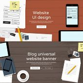 Website banners - web UI design & universal blog banner - flat design illustration