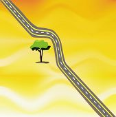 picture of twisty  - an illustration of a twisty road in the middle of nowhere that is going around a lonely tree - JPG