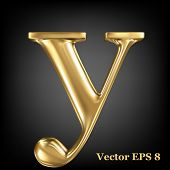 Golden shining metallic 3D symbol lowercase letter y, vector EPS8