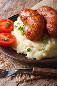 Delicious Sausages With Mashed Potatoes Rustic Style