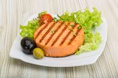 picture of crab-cakes  - Grilled Fish cakes in the bowl with salad leaves - JPG