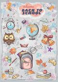 Set of different school subjects backpack paints Globe and autumn leaves