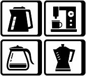set icons with kettle and percolator