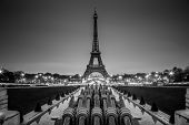 Eiffel tower, Paris, France in black and white.
